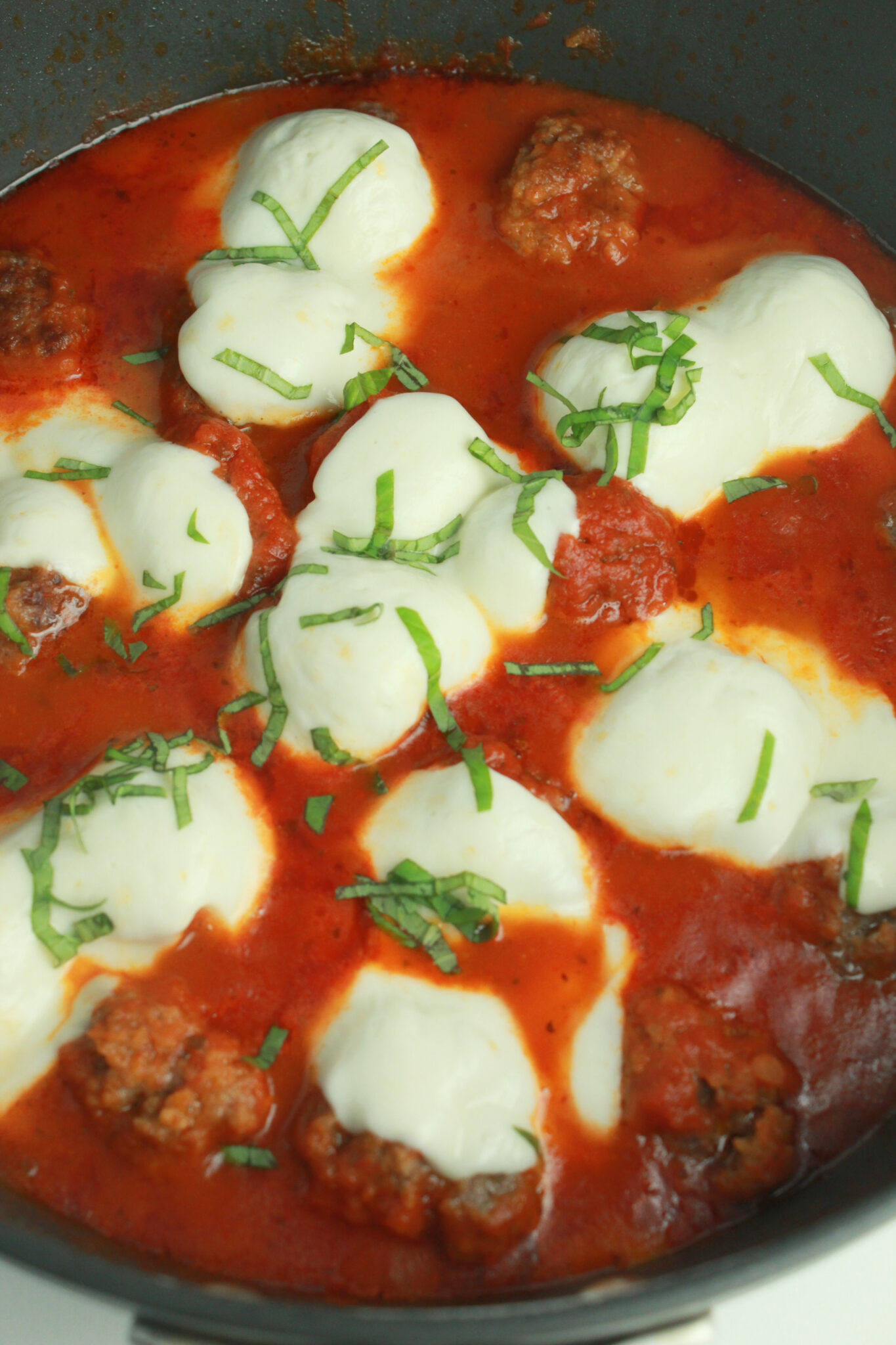 10 Back to School Dinner Ideas in 30 Minutes or Less featured by top US food blogger, Practically Homemade: meatball and mozzarella skillet