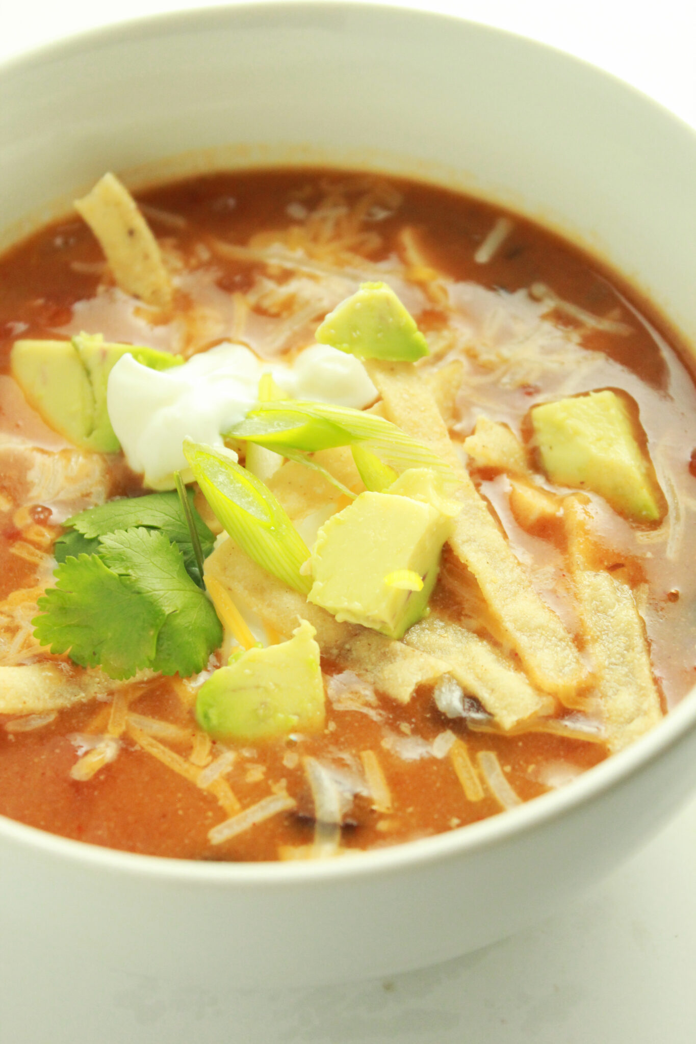 Quick and Easy Family Dinners featured by top US food blog, Practically Homemade: chicken enchilada soup