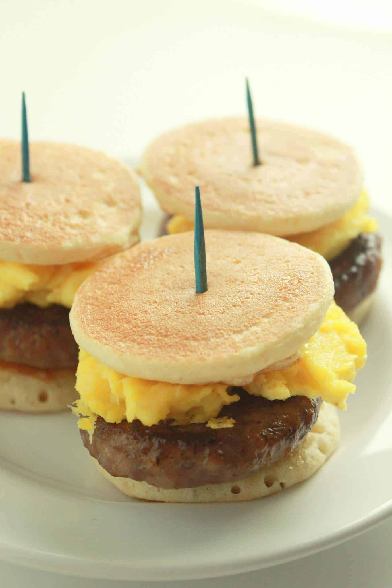 Pancake Sausage and Egg Sliders recipe featured by top US food blog, Practically Homemade