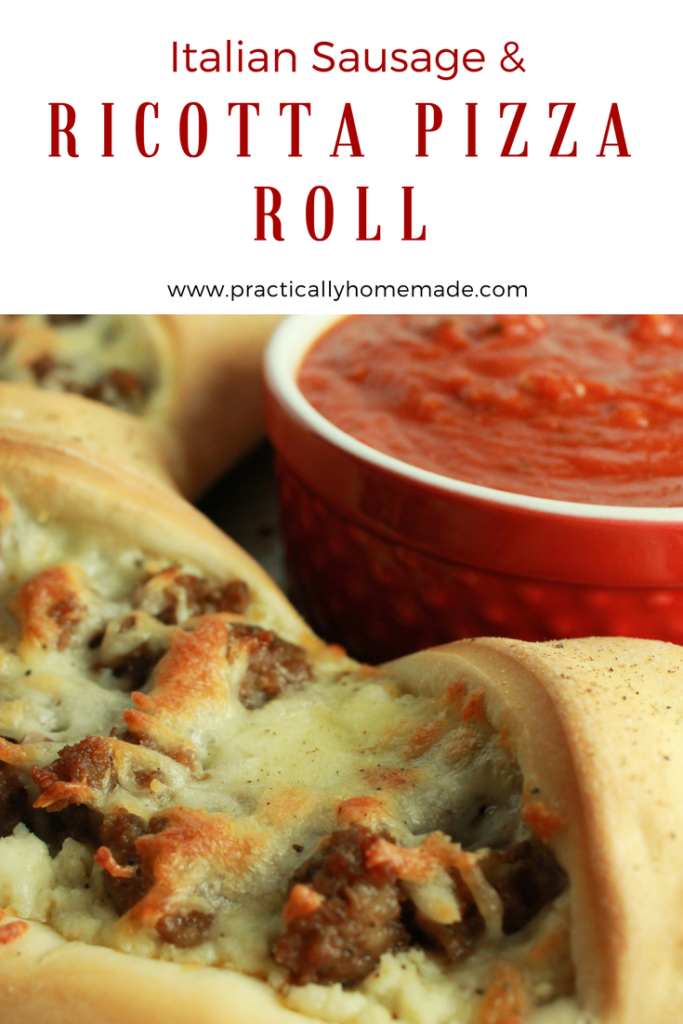 Italian Sausage Ricotta Pizza Ring Recipe featured by top US food blog, Practically Homemade | italian sausage recipes | italian sausage and ricotta recipes | italian sausage and ricotta cheese | pizza dough recipe | pizza roll ups | pizza roll recipe