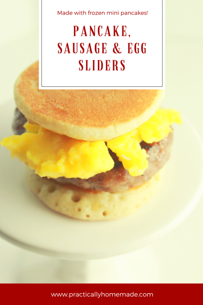 Pancake Sausage and Egg Sliders recipe featured by top US food blog, Practically Homemade | pancake sliders | pancake sliders recipe | pancake sliders breakfast sandwiches | pancakes, sausage and egg | breakfast sliders | breakfast sliders recipe | breakfast ideas | breakfast recipes easy