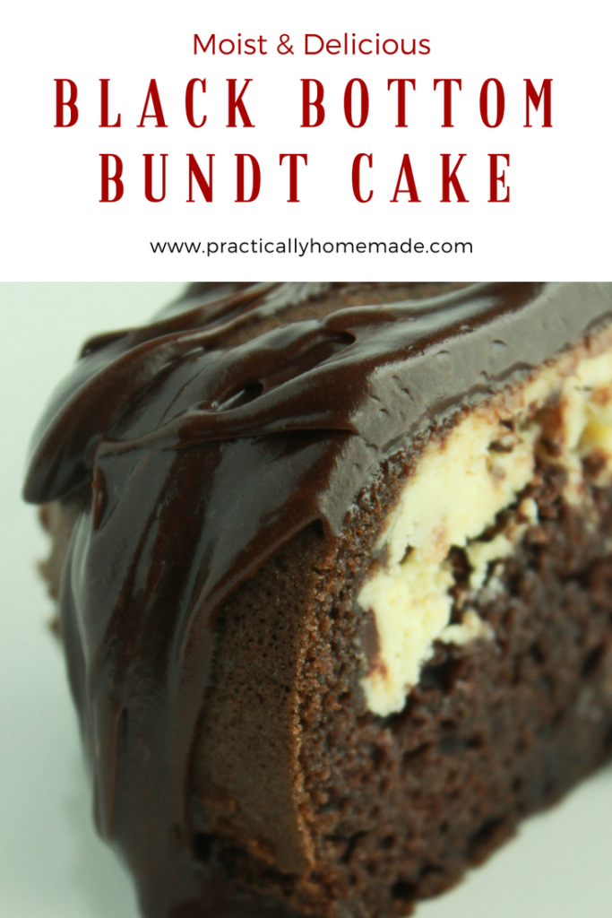 Black Bottom Bundt Cake Recipe featured by top US food blog, Practically Homemade: black bottom cake | black bottom bundt cake | black bottom recipes | bundt cake recipes easy | bundt cake recipes | bundt cake | bundt cake with cake mix boxes