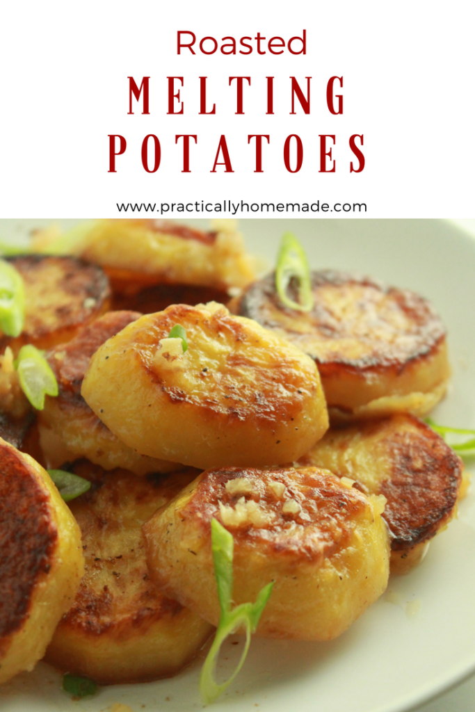 Roasted Melting Potatoes Recipe featured by top US food blog, Practically Homemade | roasted melting potatoes | roasted potatoes | roasted potatoes in oven | roasted potatoes easy | melting potatoes | melting potatoes recipe