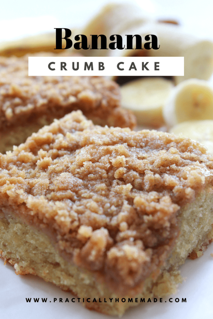 Banana Crumb Cake Recipe featured by top US food blog, Practically Homemade | banana crumb cake | banana recipe | banana bread | banana crumb cake easy