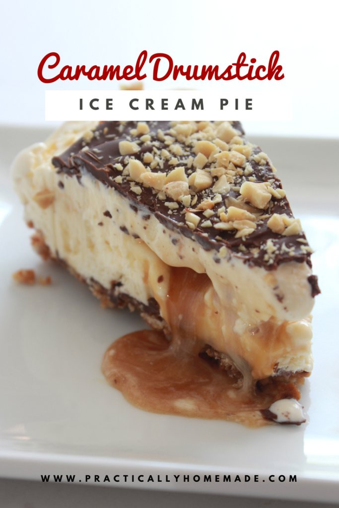 Caramel Drumstick Ice Cream Pie Recipe featured by top US dessert blog, Practically Homemade | drumstick cones | drumstick | drumstick pie | drumstick pie ice cream cones | ice cream pie | ice cream pie recipes | ice cream pie recipes easy