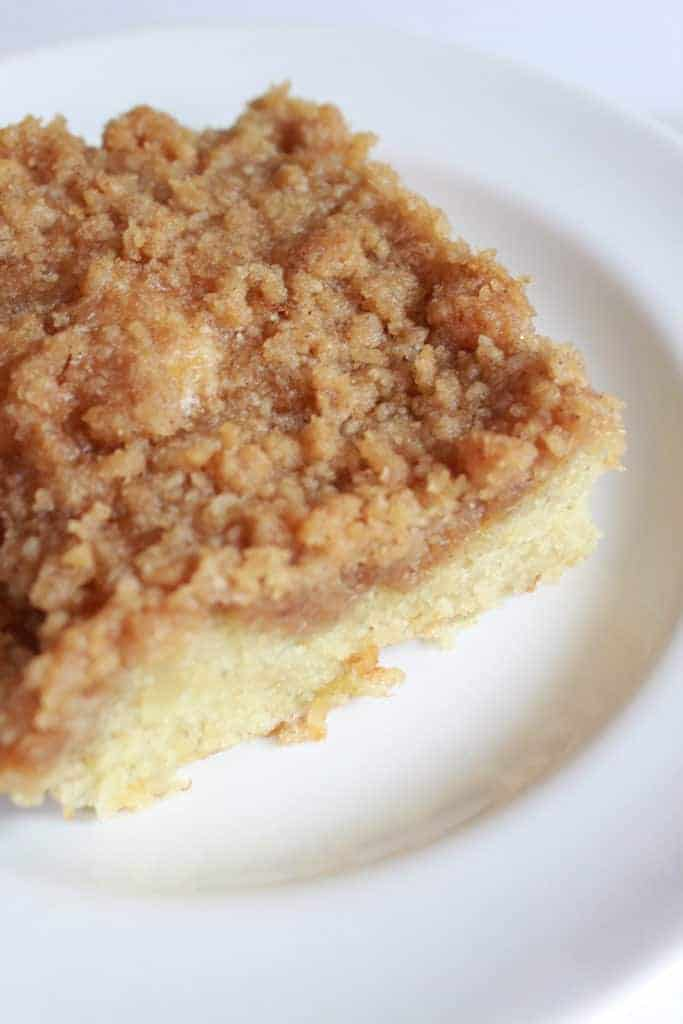 Banana Crumb Cake Recipe featured by top US food blog, Practically Homemade