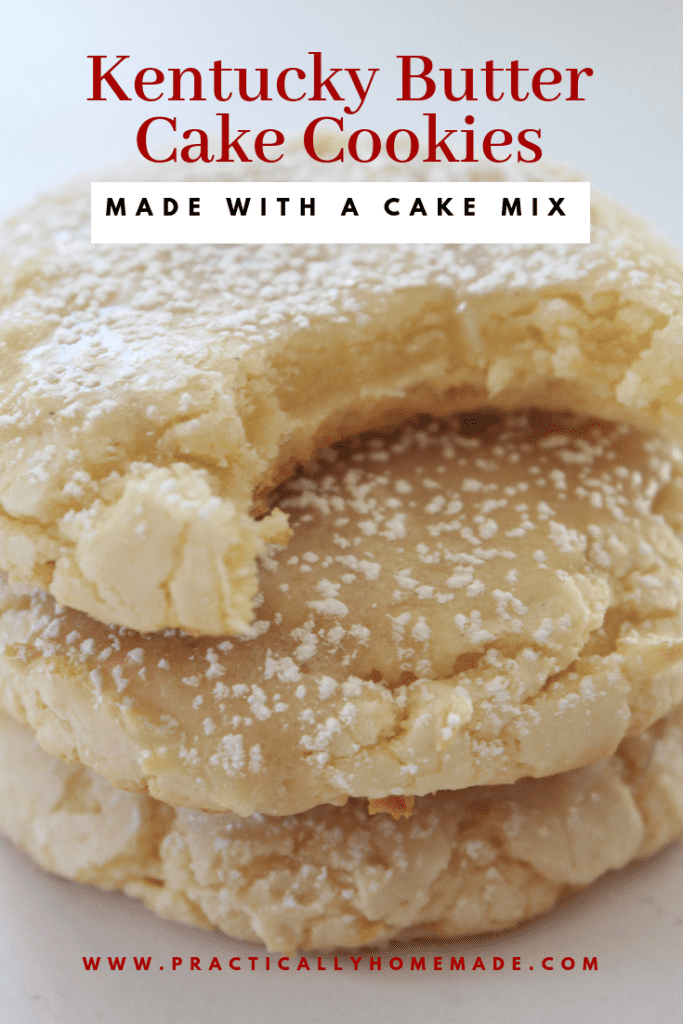 Kentucky Butter Cake Cookies recipe made with a cake mix featured by top US food blog, Practically Homemade | kentucky butter cake cookie | ketucky butter cake | butter cake recipe | cake mix recipe | cake mix cookies