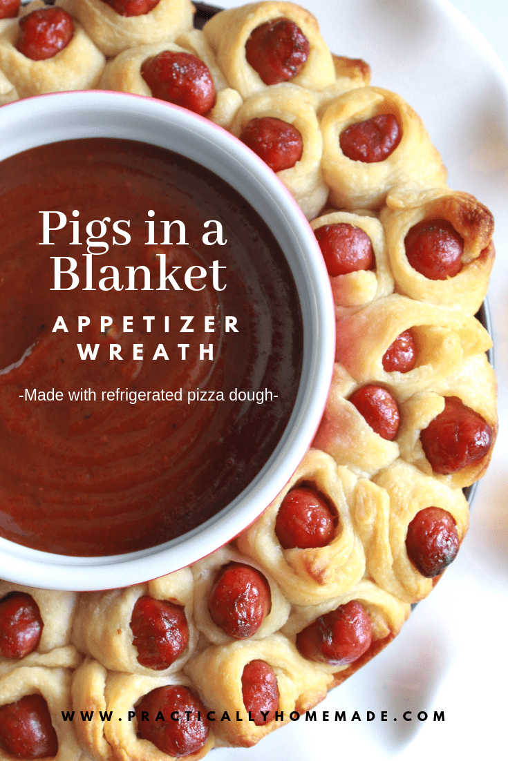 Little Smokies Pigs in a Blanket Wreath Recipe featured by top US food blog, Practically Homemade: pigs in a blanket recipe pillsbury | pigs in a blanket appetizer | appetizer wreath | little smokies recipes |