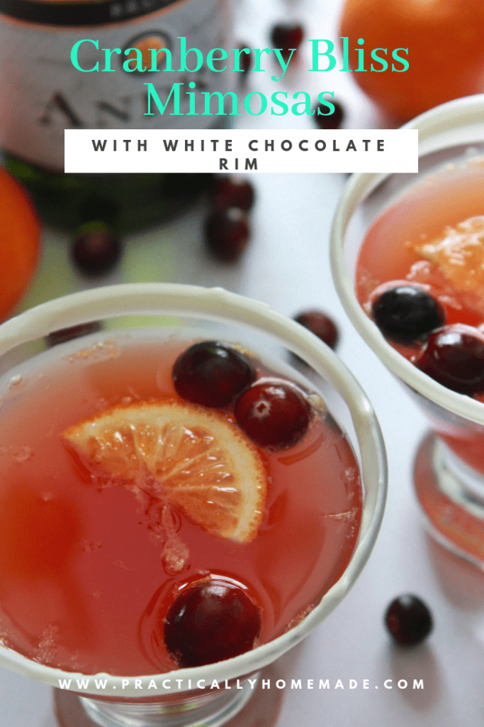 cranberry bliss mimosa | cranberry bliss recipe | cranberry mimosa | christmas drink | mimosa recipes | fun drink ideas