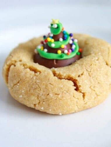 Peanut Butter Blossoms Recipe featured by top US cookies blog, Practically Homemade