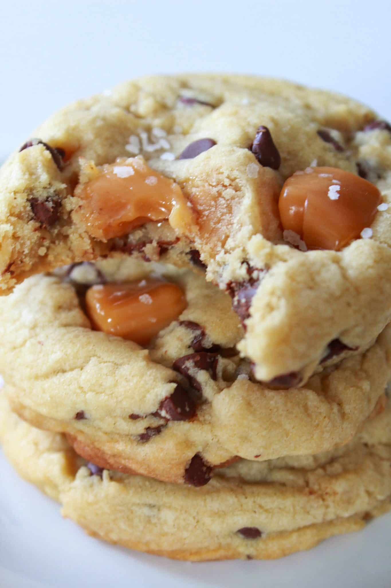 Popular 2019 Recipes featured by top US food blog, Practically Homemade: Salted Caramel chocolate chip cookies