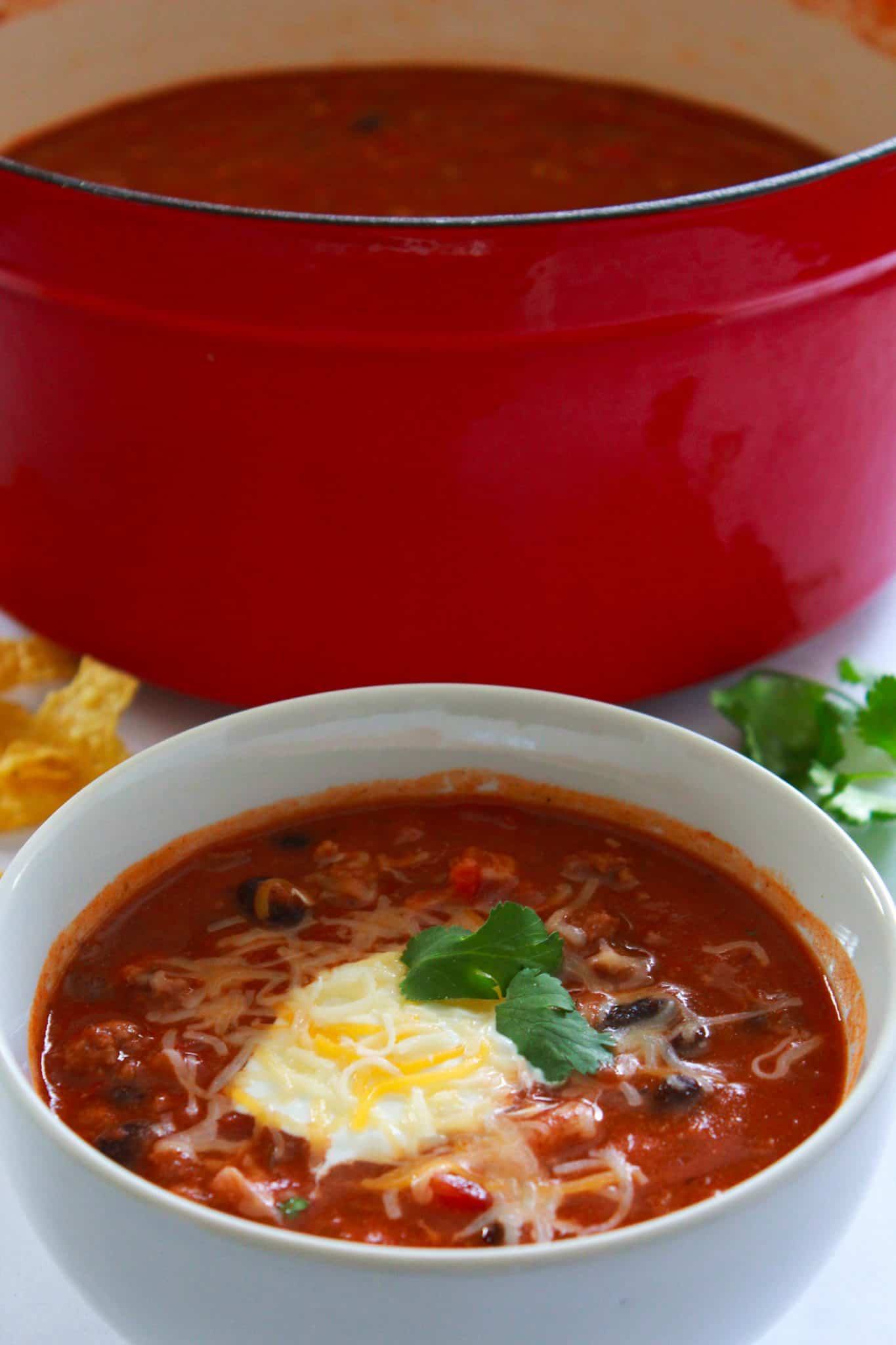 Quick and Easy Family Dinners featured by top US food blog, Practically Homemade: chili