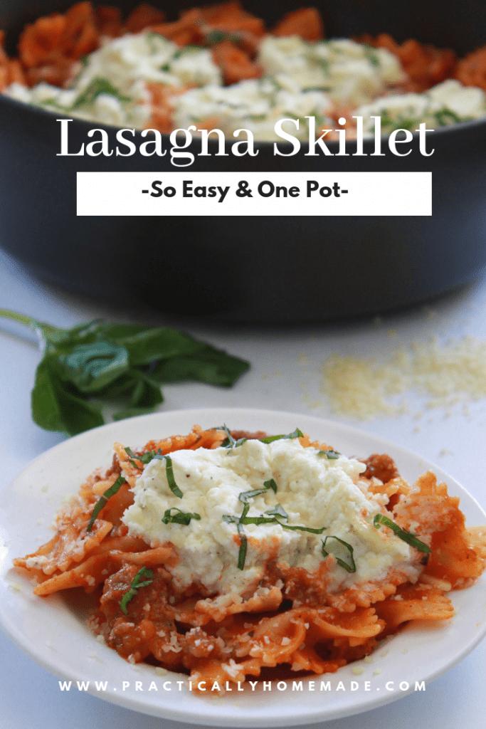 lasagna skillet | easy lasagna skillet | easy lasagna recipe | skillet recipe | pasta skillet | one pot dinner | skillet dinner recipe