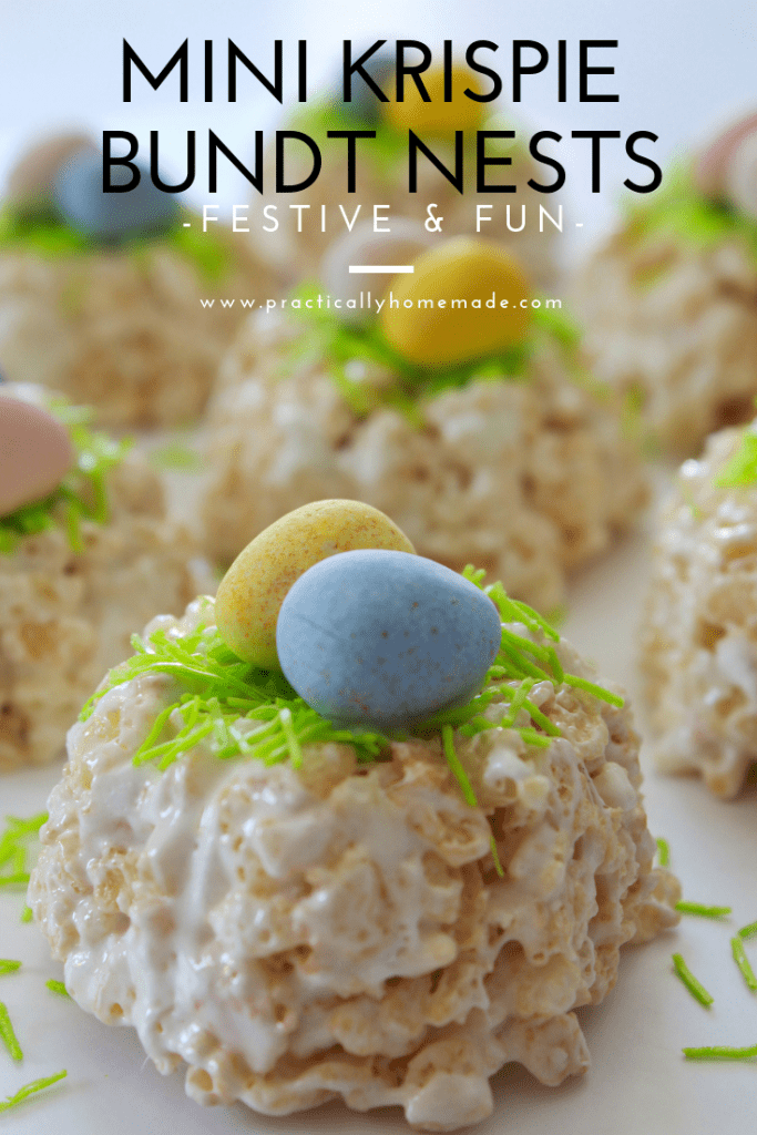 mini krispie bundt nests | krispie treat nest | easter nests | mini cadbury nests | easter dessert | holiday dessert