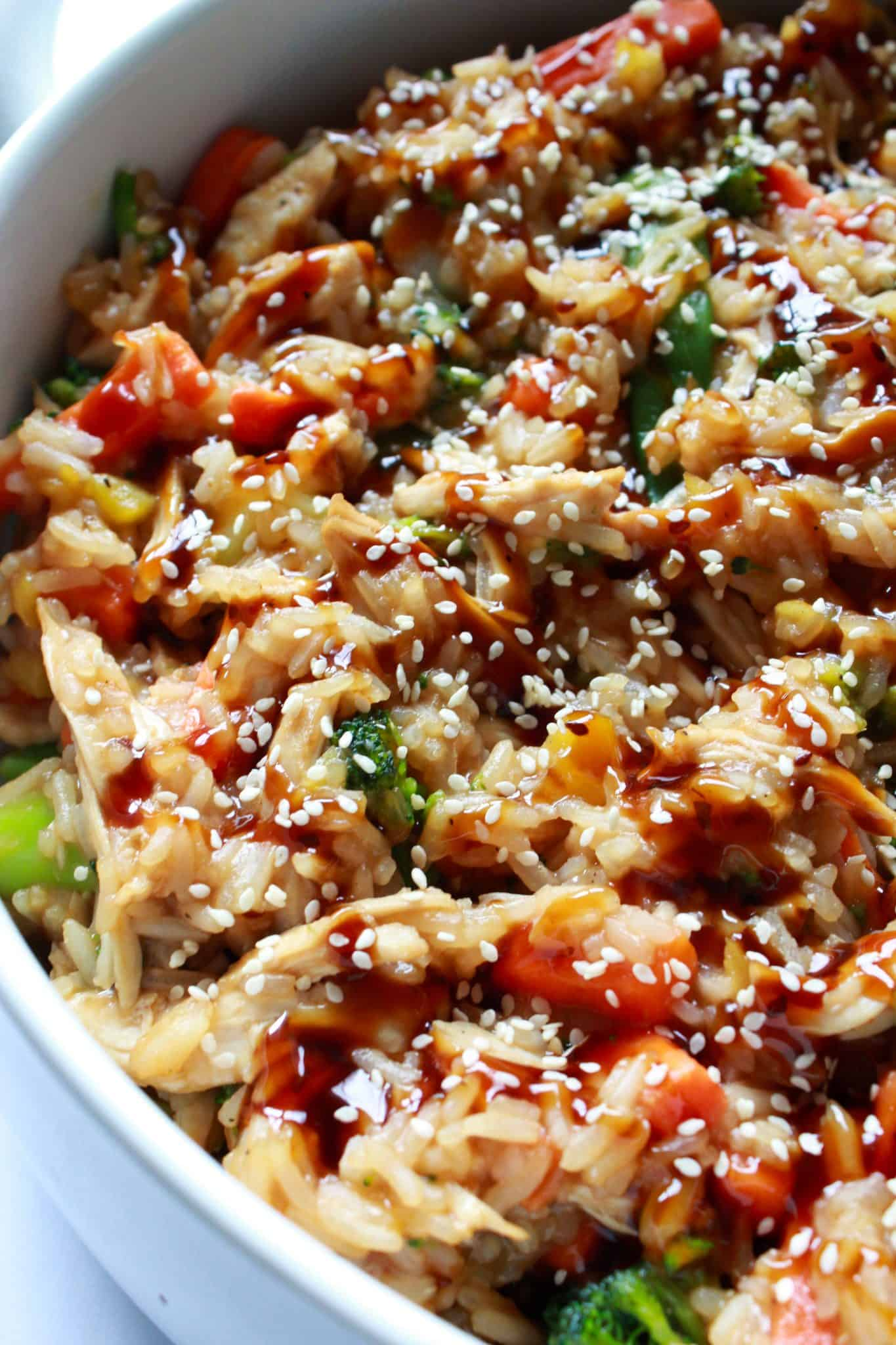 Quick and Easy Family Dinners featured by top US food blog, Practically Homemade: teriyaki chicken stir fry