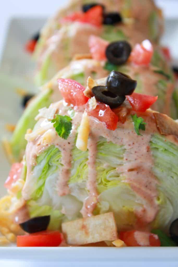 fiesta wedge salad | wedge salad | taco salad recipe | taco wedge salad | mexican taco salad | mexican wedge salad | taco salad dressing