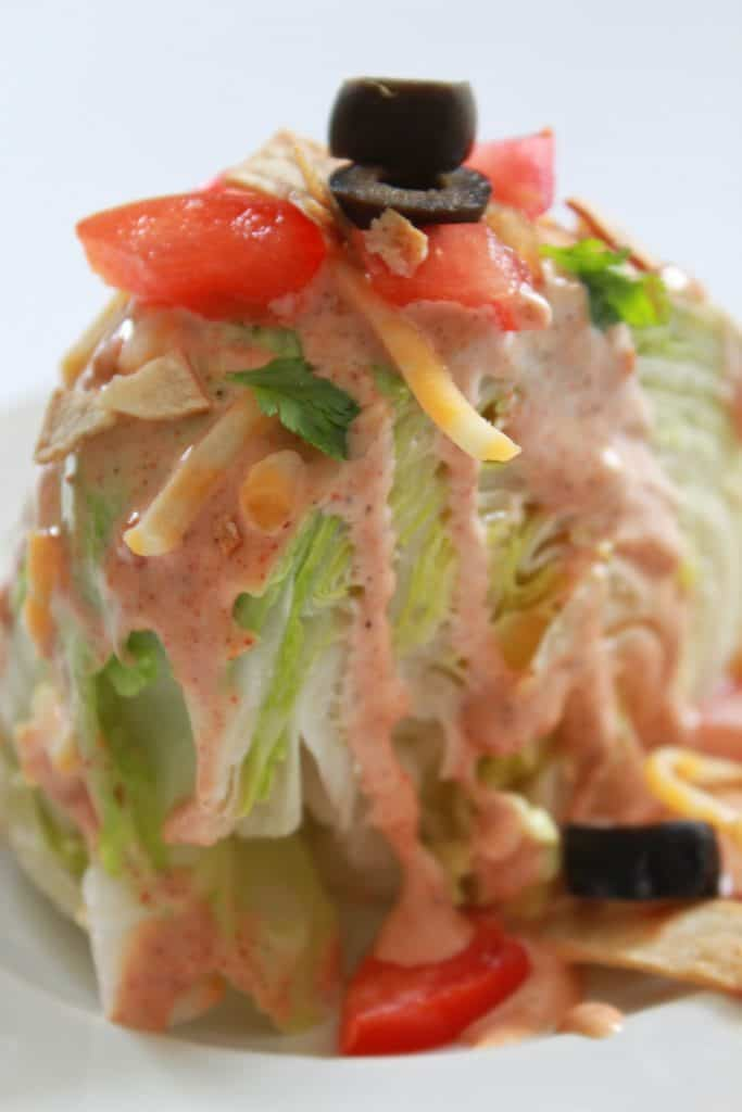 fiesta wedge salad | wedge salad | taco salad recipe | taco wedge salad | mexican taco salad | mexican wedge salad | taco salad dressing