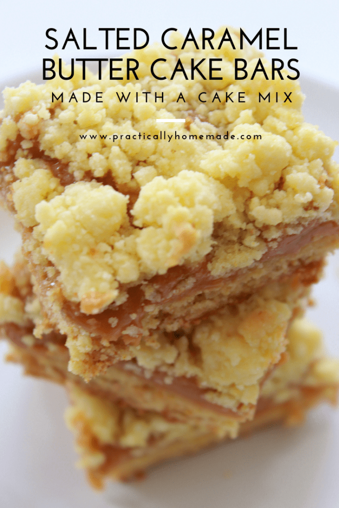 salted caramel butter cake bars | salted caramel butter bars | salted caramel bars | salted caramel dessert | cake mix cookie | shortbread bar | salted caramel shortbread