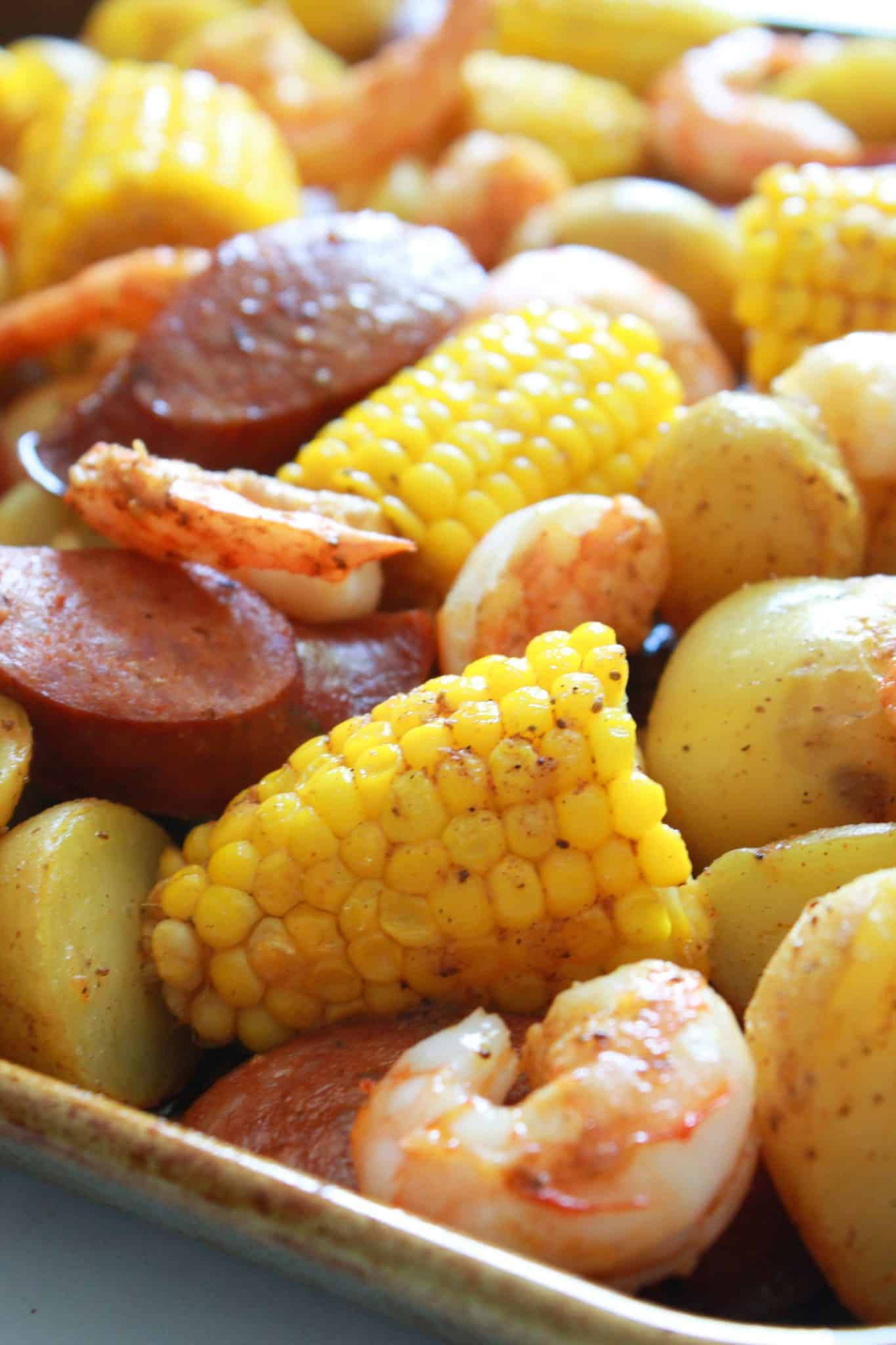 Sheet Pan Cajun Shrimp Boil Recipe featured by top US food blog, Practically Homemade