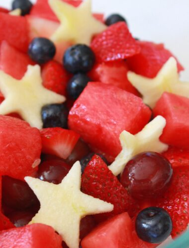 Red White and Blue Fruit Salad for the 4th a July, recipe featured by top US food blog, Practically Homemade