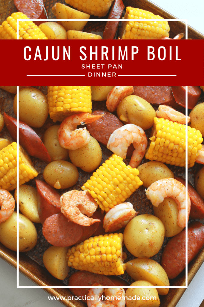 Sheet Pan Cajun Shrimp Boil Recipe featured by top US food blog, Practically Homemade | sheet pan cajun shrimp boil | cajun shrimp boil sheet pan dinner | shrimp boil easy | shrimp boil sheet pan | sheet pan dinner