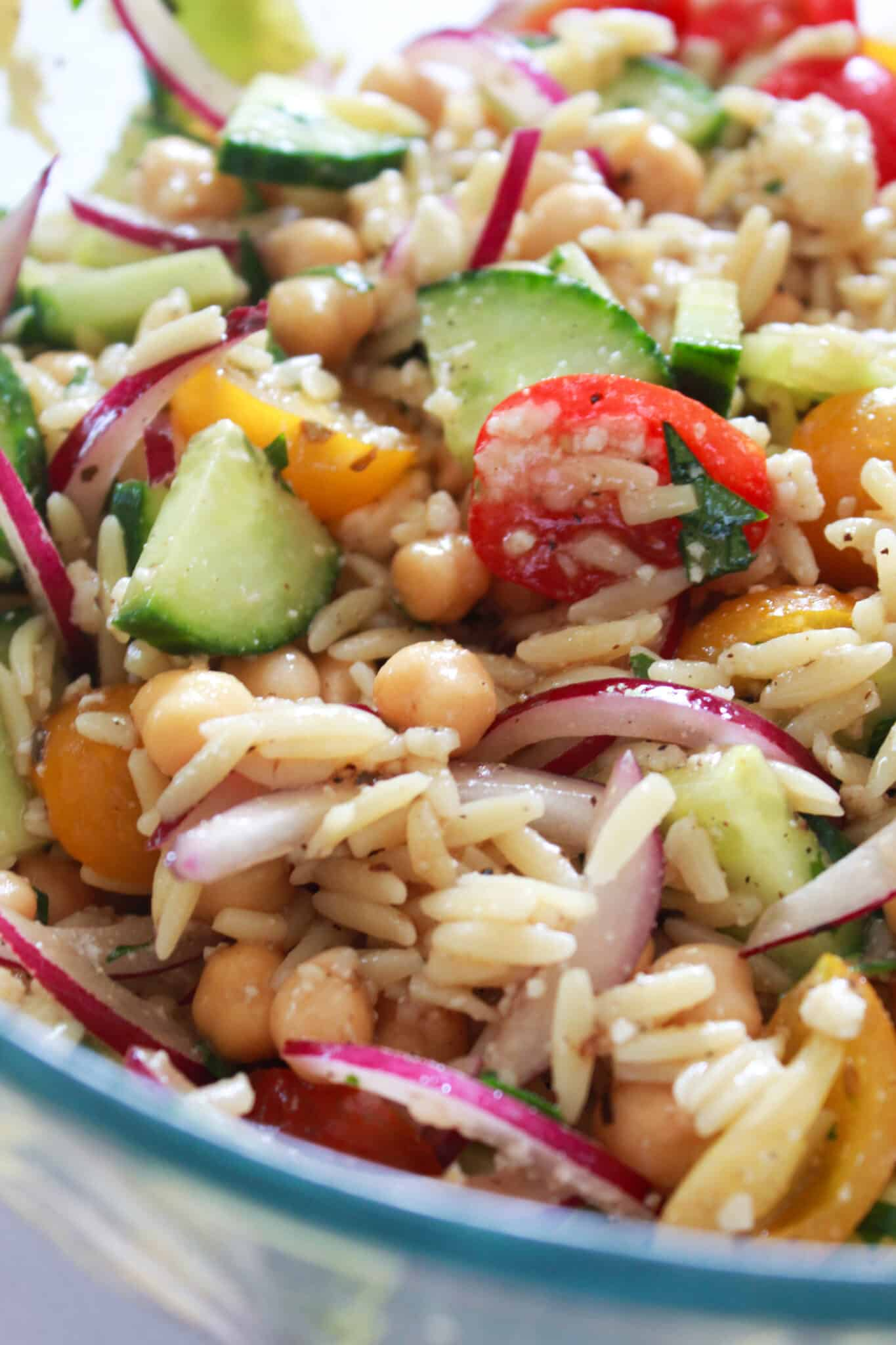 Quick Summer Salad: Healthy Mediterranean Salad with Chickpeas, a recipe featured by top US food blog, Practically Homemade