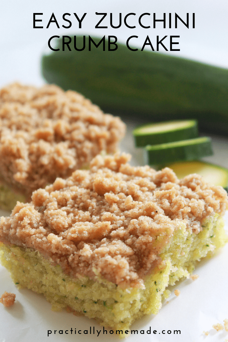 Easy Zucchini Crumb Cake Recipe featured by top US food blog, Practically Homemade