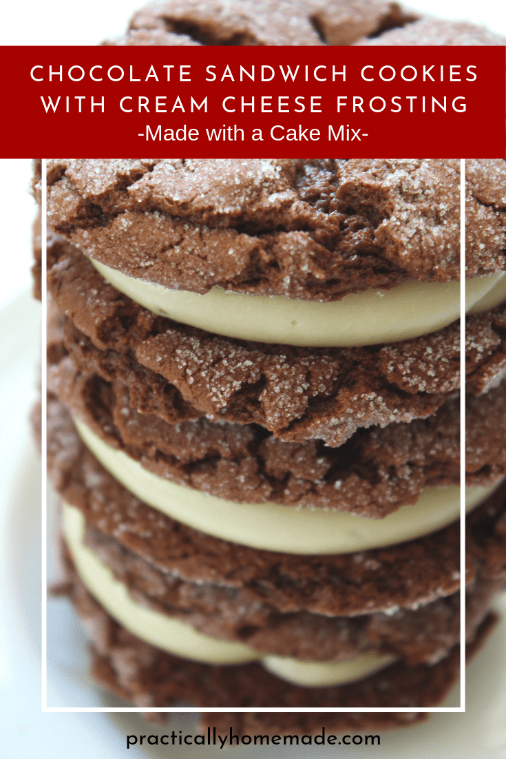 Cake Mix Cookies: Chocolate Sandwich Cookies with Cream Cheese Filling recipe featured by top US food blog, Practically Homemade