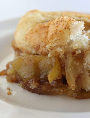 Easy Fall Desserts: Cake Mix Apple Cobbler Recipe featured by top US food blog, Practically Homemade