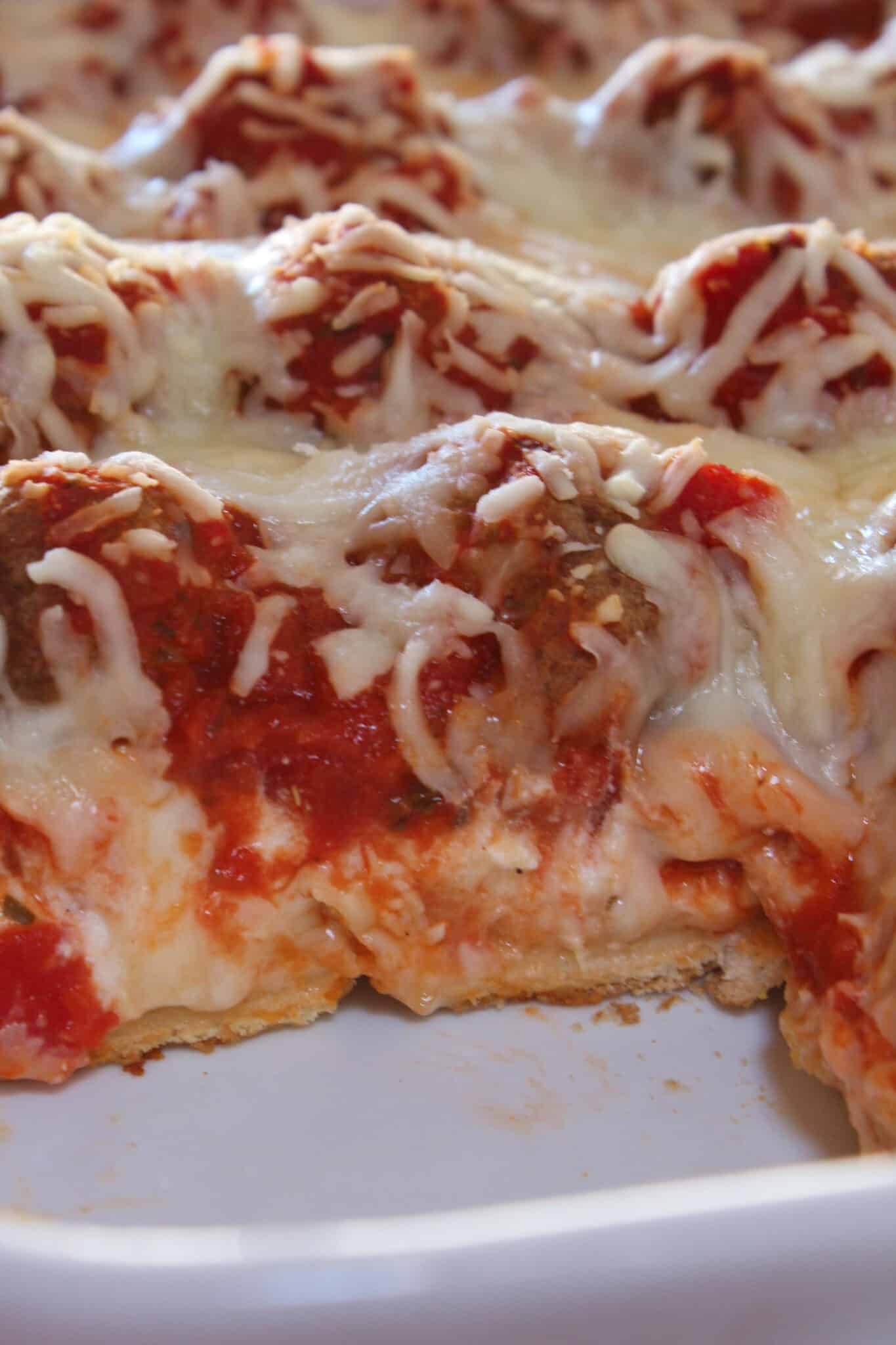 Meatball Sub Casserole Recipe featured by top US food blog, Practically Homemade