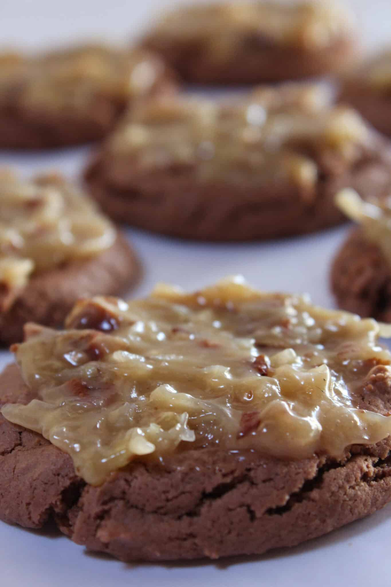 Delicious German Chocolate Cookies Recipe Using a Cake Mix featured by top US food blog, Practically Homemade