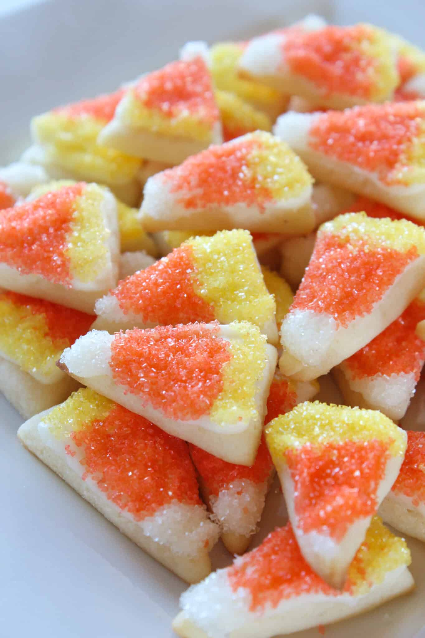 Candy Corn Sugar Cookie Bites featured by top US food blog, Practically Homemade