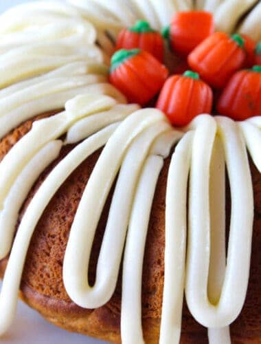 Pumpkin Spice Bundt Cake with Cream Cheese Frosting recipe featured by top US food blog, Practically Homemade