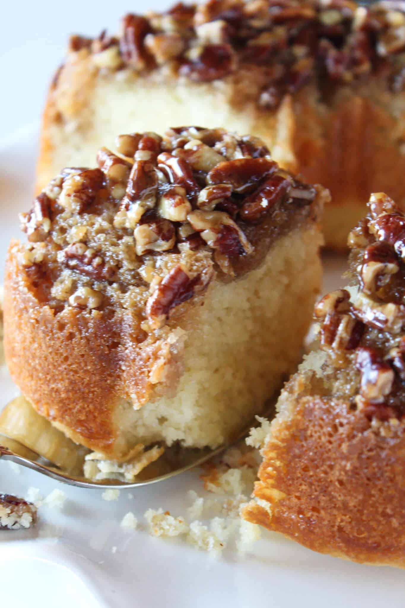 Pecan Upside Down Bundt Cake Recipe featured by top US dessert blog, Practically Homemade