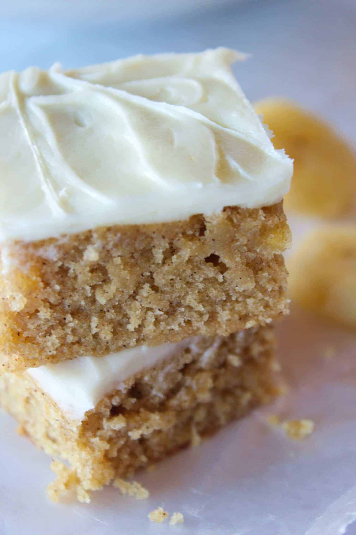 Banana Blondies Recipe with Cream Cheese Frosting featured by top US dessert blog, Practically Homemade
