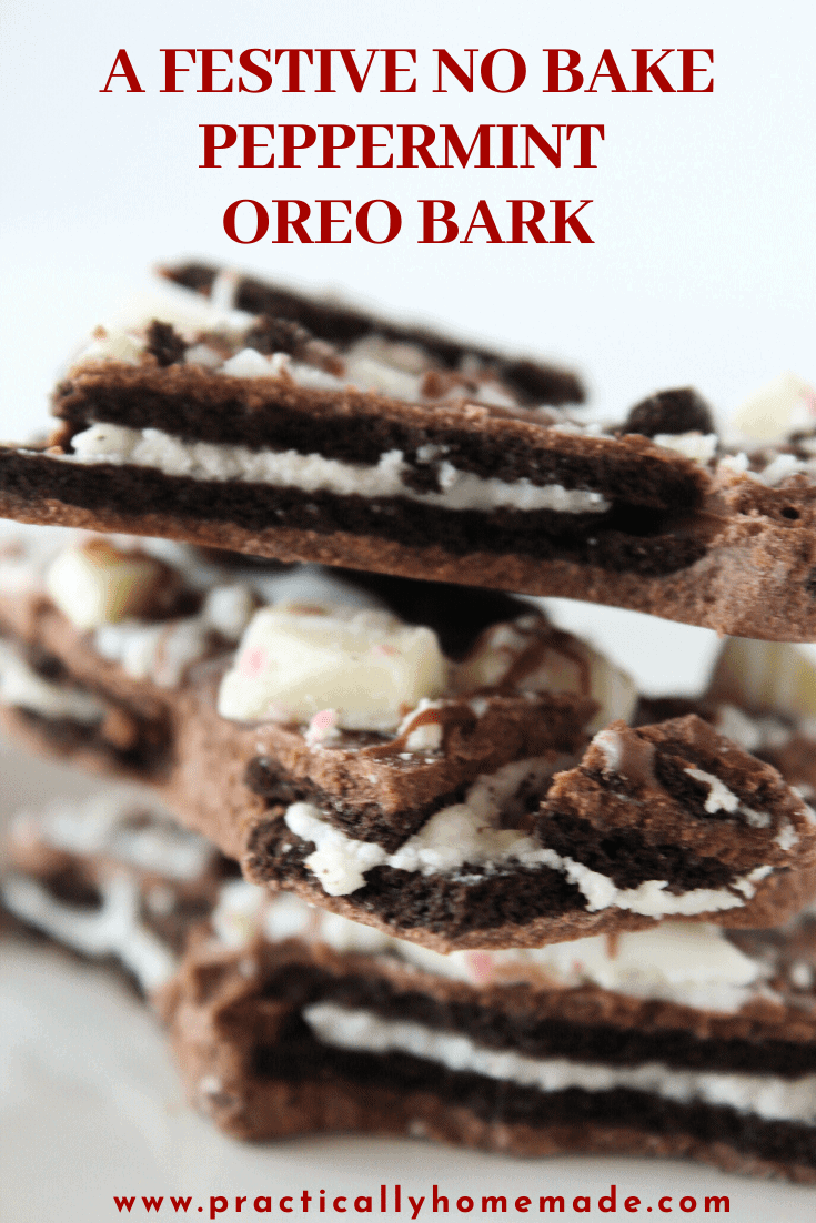 No Bake Peppermint Oreo Bark recipe featured by top US recipe blog, Practically Homemade