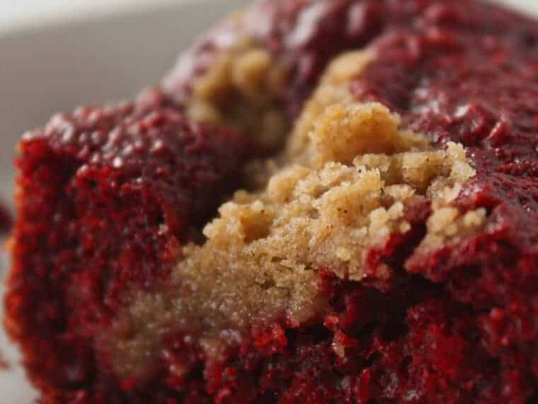 Easy Red Velvet Crumb Cake Recipe with a Cake Mix featured by top US dessert blog, Practically Homemade