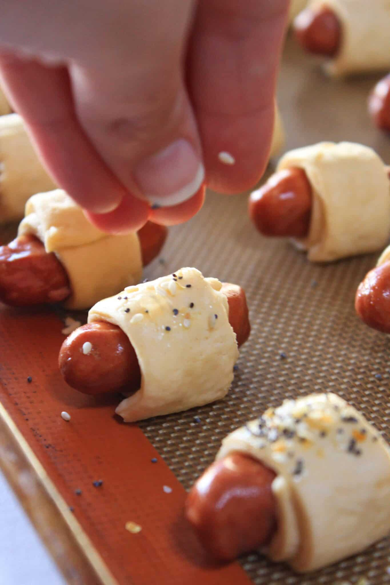 Everything Pigs in a Blanket recipe, a Super Bowl Appetizer, featured by top US food blog, Practically Homemade.