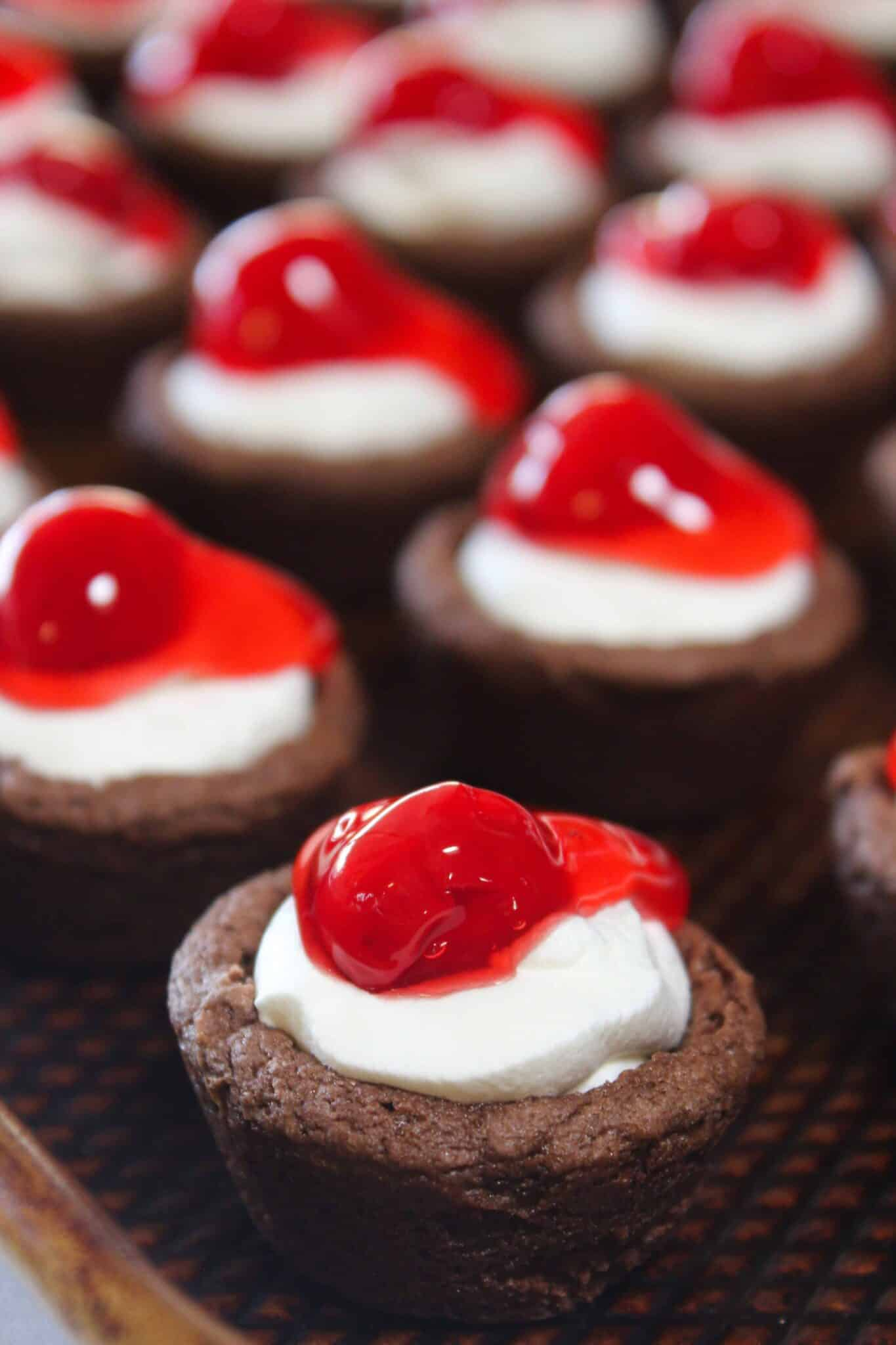 Black Forest Cookie Cups Recipe featured by top US cookie blog, Practically Homemade