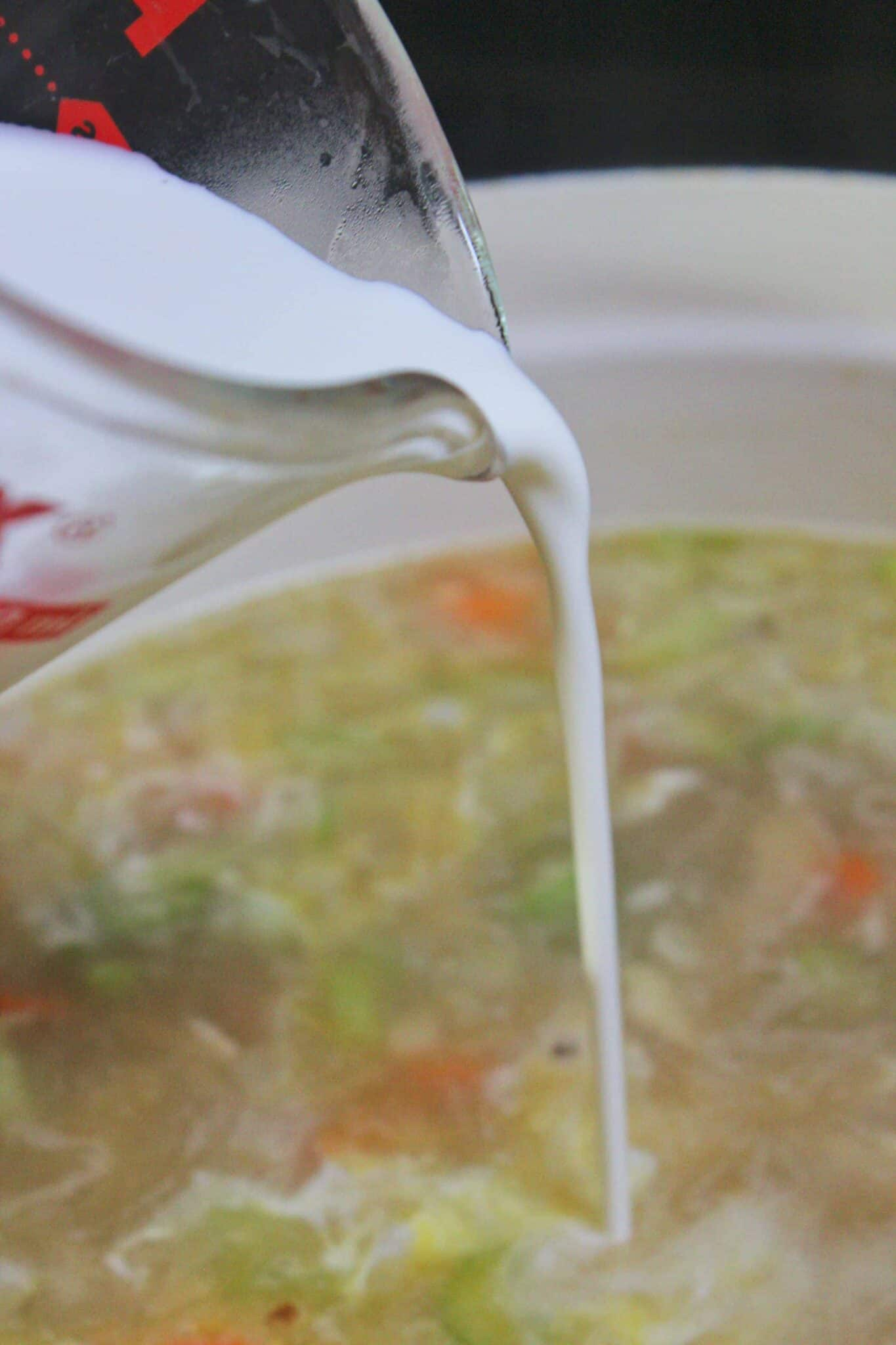 Creamy Chicken Noodle Soup Recipe featured by top US food blog, Practically Homemade