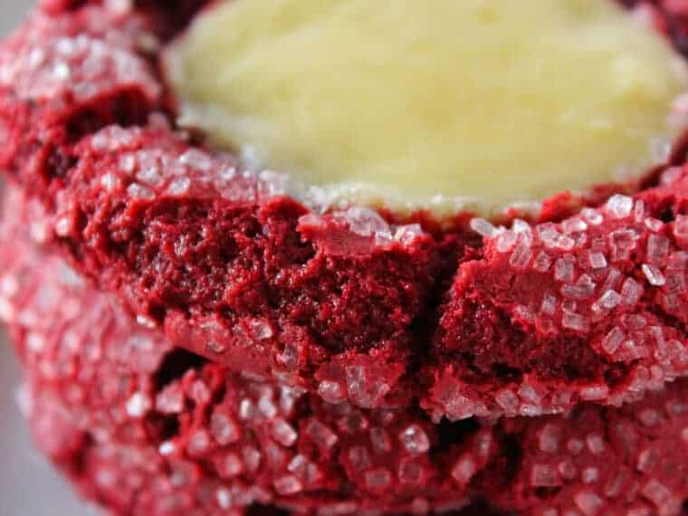 Red Velvet Cheesecake Cookies with a Cake Mix Recipe featured by top US cookies blog, Practically Homemade