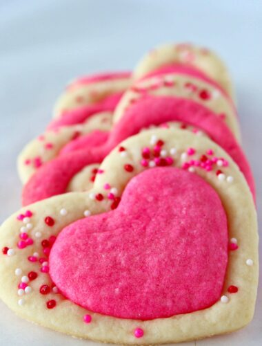 Easy Valentine's Day Sugar Cookies featured by top US cookie blog, Practically Homemade