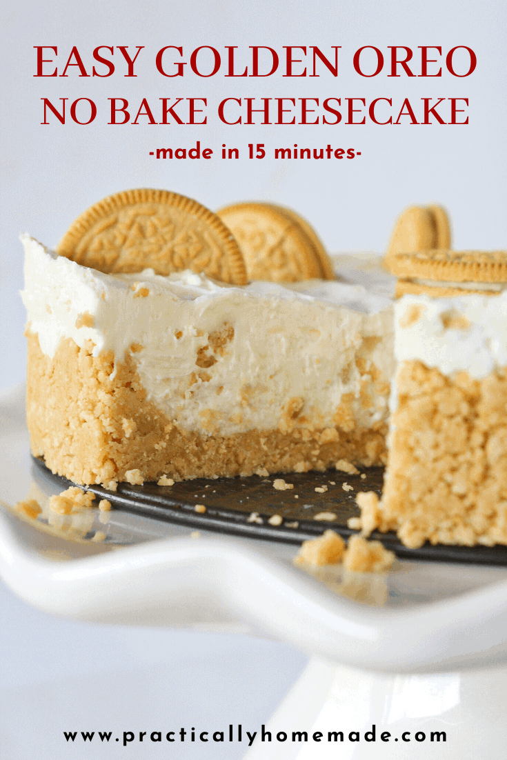 Quick & Easy Golden Oreo No Bake Cheesecake Recipe featured by top US dessert blog, Practically Homemade
