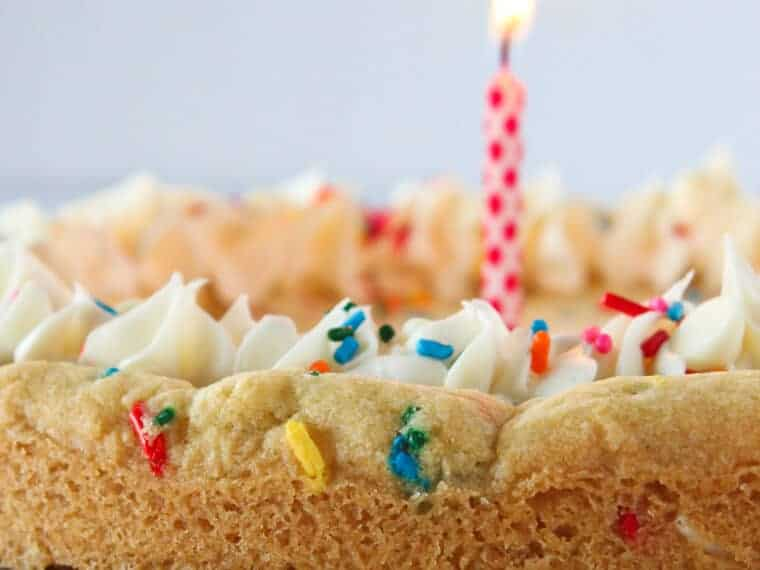 Easy Birthday Cookie Cake Recipe featured by top US dessert blog, Practically Homemade