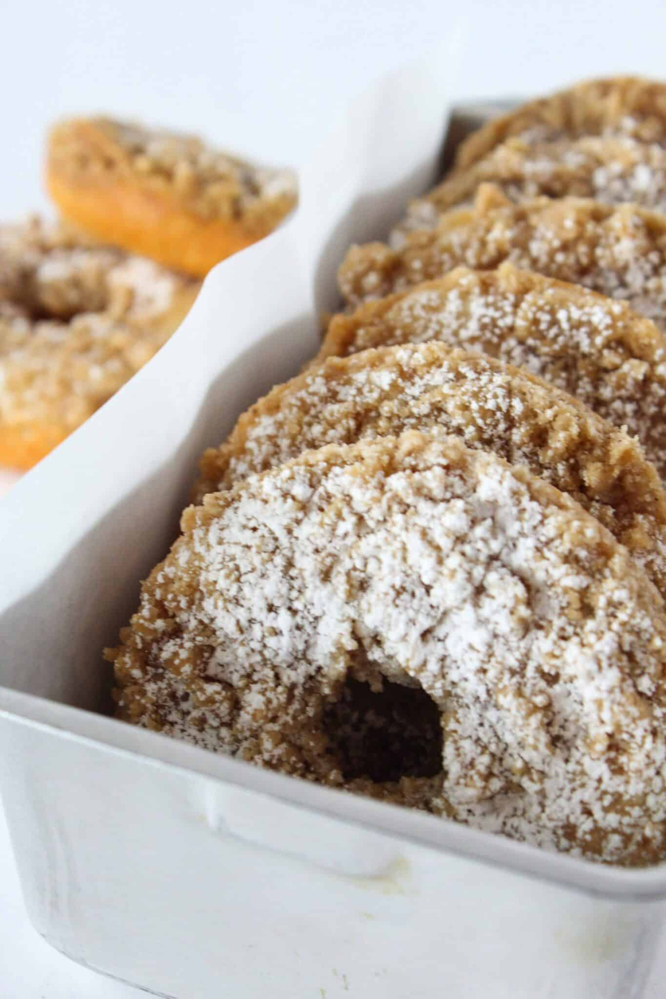 Easy Cinnamon Crumb Donut Recipe Made with a Pancake Mix featured by top US dessert blog, Practically Homemade