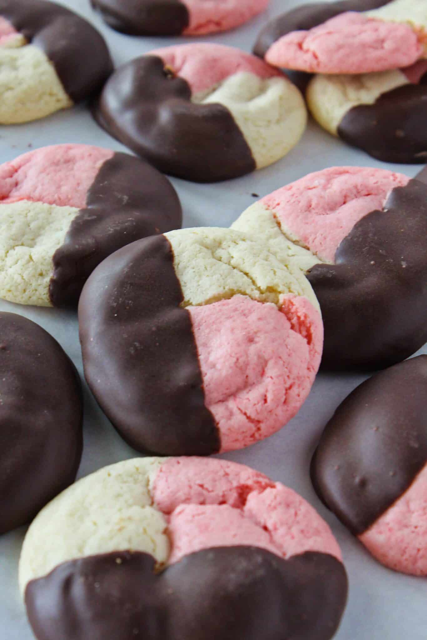 Cake Mix Neapolitan Cookies Recipe featured by top US cookies blog, Practically Homemade