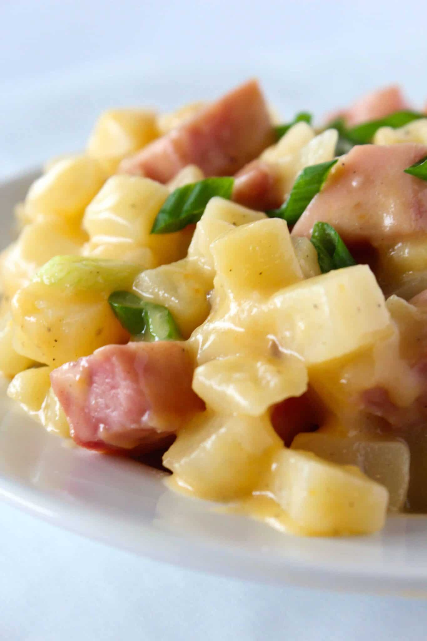 Easy Crock Pot Potatoes and Ham Recipe featured by top US food blog, Practically Homemade