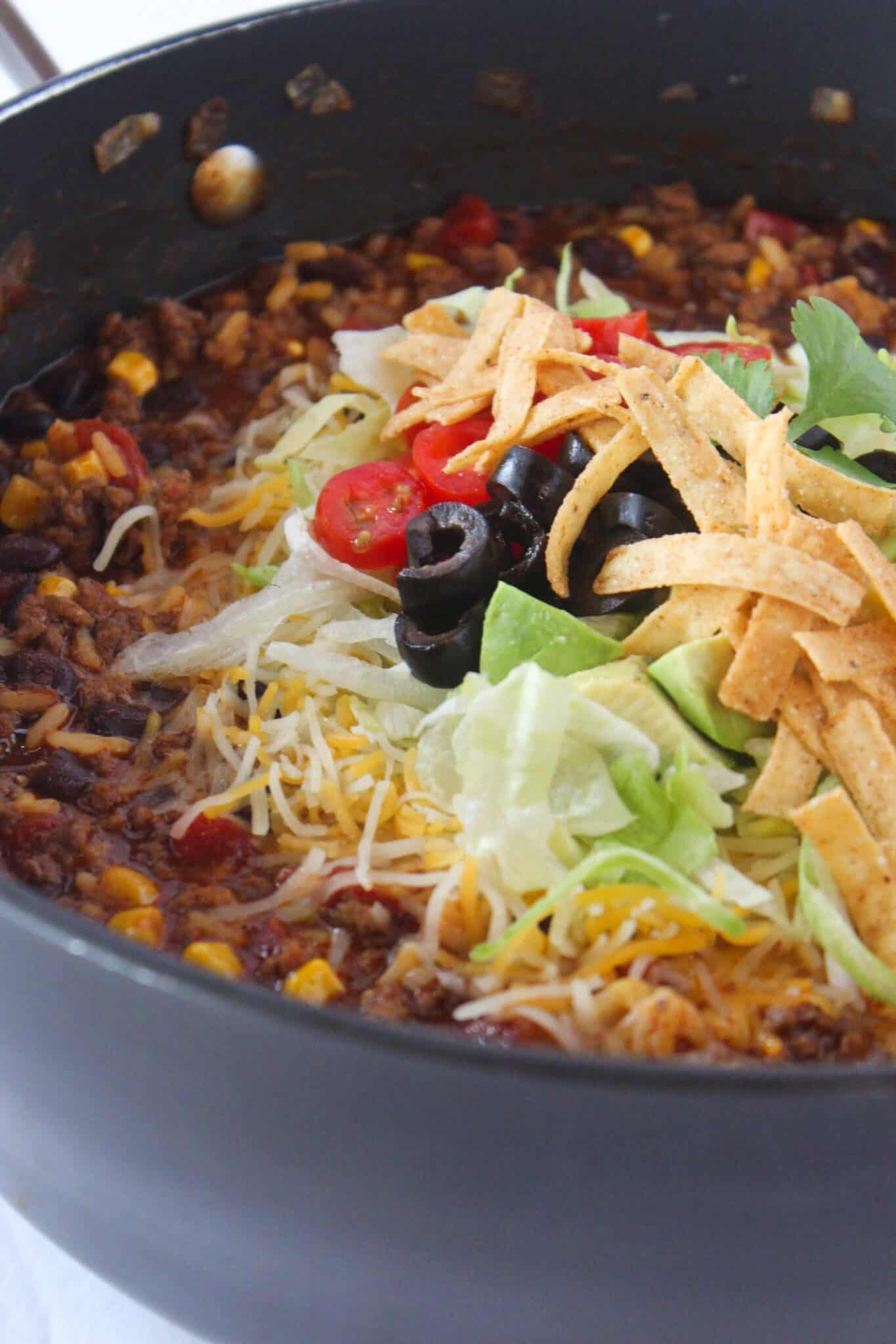 Ground Beef Enchilada Skillet recipe featured by top US food blog, Practically Homemade
