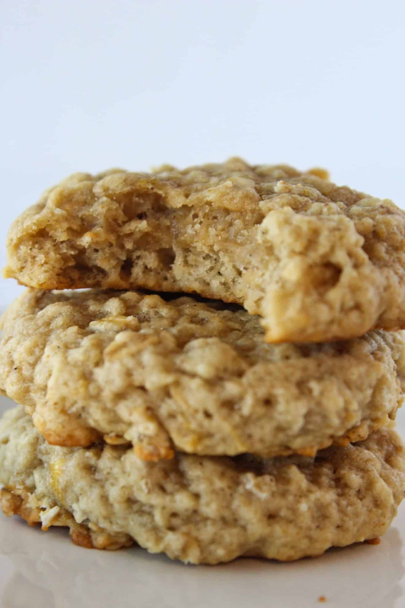 Brown Butter Banana Oatmeal Cookies Recipe featured by top US cookie blog, Practically Homemade