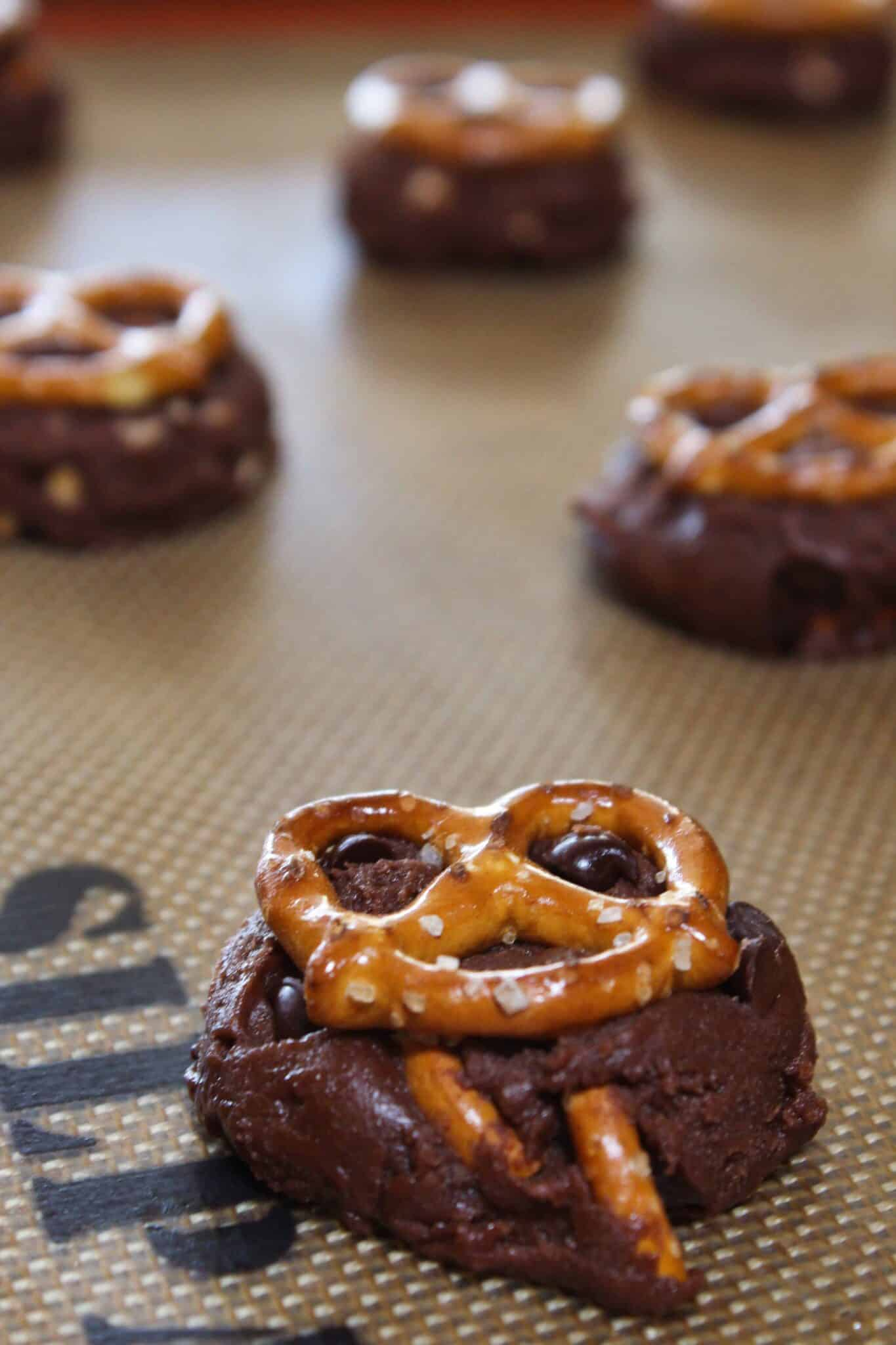 Loaded Brownie Pretzel Cookies Recipe featured by top US cookie blogger, Practically Homemade